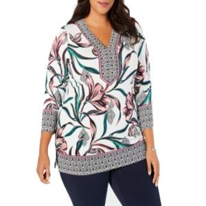 Women's Plus Floral Printed Y-Neck Tunics Top